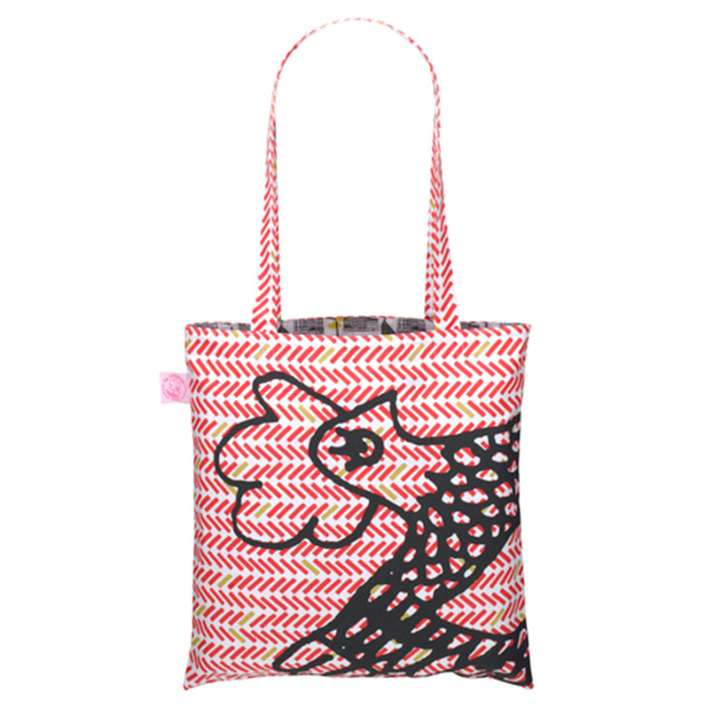 Red Herringbone Cocotte Eco Bag